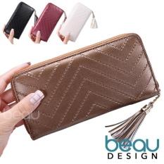 BEAU Dompet Wanita Import Batam Branded Model Terbaru Kulit Fur Design Texture Women Long Wallet Purse