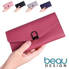 BEAU Dompet Wanita Import Batam Branded Model Terbaru Kulit Quality PU Leather Lock Women Purse Wallet