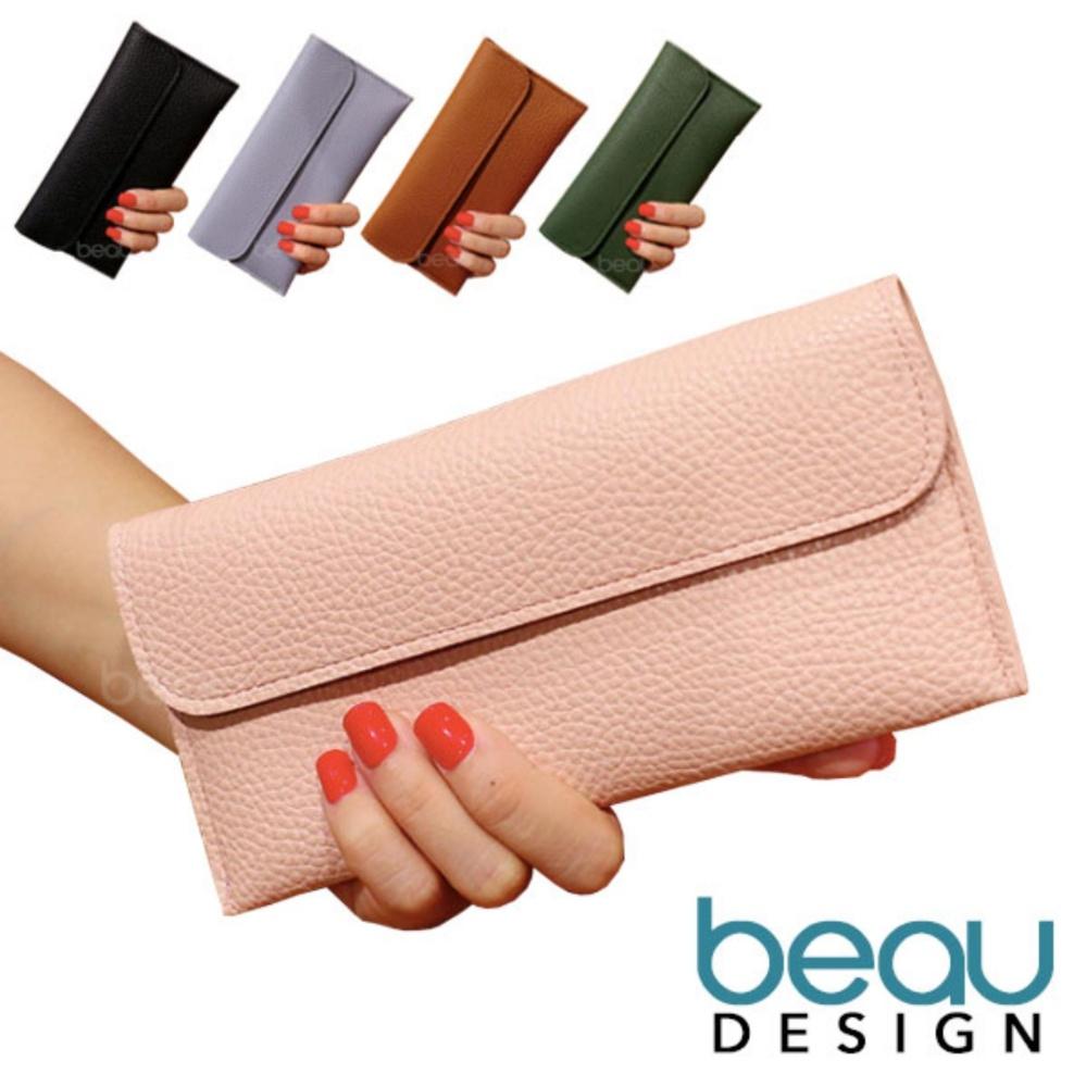 BEAU Dompet Wanita Import Batam Branded Model Terbaru Kulit Soft PU Leather  Rectangle Women Purse Wallet 2f28b9bb6e
