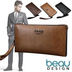 BEAU Dompet Pria Import Batam Branded Model Terbaru Kulit Jeep Buluo Quality PU Leather Men Long Wallet