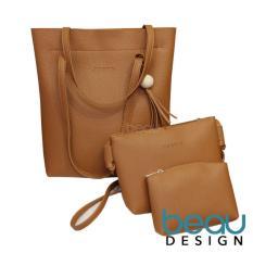 BEAU Set of 3 Tas Wanita Import Kulit Batam Branded Selempang Terbaru PU Leather Tote Women Shoulder Bags