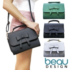 Promo Beau Tas Wanita Women Ribbon Pu Leather Crossbody Sling Bags Beau Terbaru