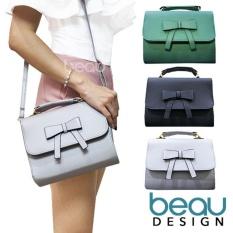 Beli Beau Tas Wanita Women Ribbon Pu Leather Crossbody Sling Bags Lengkap