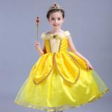 Toko Belle Gaun Putri Wanita Cantik Rok Terusan Gadis Hari Anak Kostum Kuning Tiongkok