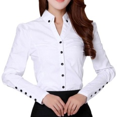 Kecantikan Gaya OL Lady White Kemeja Ukuran S-2XL Musim Panas OfficeFormal Pakaian 2017 Baru Korea Wanita Karir Tops (Putih) & Nbsp;-Intl