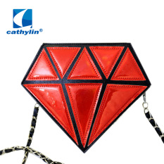 Harga Beauty S Korean Fashion Stitching Diamonds Laser Personality Diagonal Shoulder Bags Color Red Intl Lengkap
