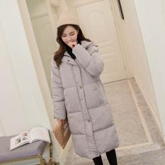 Some Korea Modis Gaya Wanita Di Bagian Panjang Jaket Jaket Wanita Musim Dingin Baju Katun (Abu-abu)