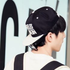 Beli Beberapa Tren Pria Korea Fashion Style Topi Baseball Topi Losangeles Hitam Atas Putih Bertepi Murah Tiongkok