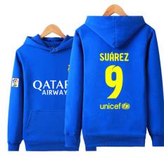 Some Dalam Pria Kasual Pakaian Olah Raga Pelatihan Sweter Tanpa Kancing Kaos Sweater Baju Sepak Bola (Barcelona Nomor 9 Suarez Biru)