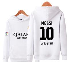 Some Dalam Pria Kasual Pakaian Olah Raga Pelatihan Sweter Tanpa Kancing Kaos Sweater Baju Sepak Bola (No.10 Messi Putih)