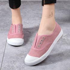 Bair Sepatu Kain Musim Gugur Siswa Sekolah Menengah Sepatu Kanvas Remaja Anak Perempuan (Merah Muda)