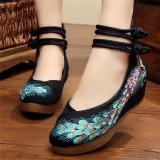 Harga Beijing Oldish Baru Perempuan Sepatu Kain Sepatu Bordir Merak Hitam Sepatu Wanita Flat Shoes New