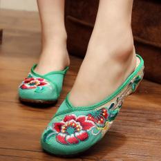Beijing Oldish Baru Sepatu Kain Tarik Perempuan Kembang Sepatu Hijau Sepatu Wanita Sandal Wanita Asli