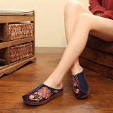 Harga Beijing Oldish Bawah Tendon Eksotis Bordir Baotou Sendal Sandal Kain Biru Sepatu Wanita Sandal Wanita Dan Spesifikasinya