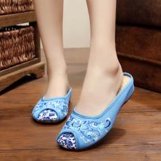 Beijing Oleander Bawah Tendon Sepatu Angsa Emas His Living Sandal Kain atau Sandal Butuo (Lotus Biru Muda)