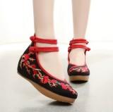 Harga Beijing Oldish Merah Sol Tebal Sepatu Bordir Sepatu Wanita Sepatu Meihua Hitam Yang Bagus