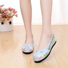 Beijing Oleander Pakaian Adat Tiongkok Sepatu Dansa Sepatu Kain (Hijau Belanda Biru)