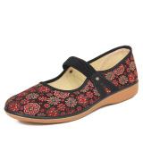 Beli Beijing Oldish Pijakan Empuk Ukuran Ekstra Besar Sepatu Kulit Teplek Mama Sepatu Kain Model Wanita 6A09 Merah Terbaru