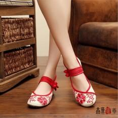 Beijing Oleander Plaza Sepatu Dansa Perempuan Sepatu Kain (Bunga Matahari Merah)