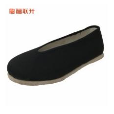 福联升 Beijing Oldish Pria Buatan Tangan Pertanian Bernapas Sepatu Kain (Hitam)
