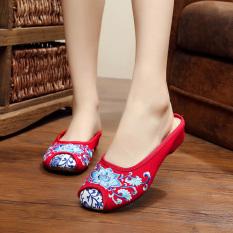 Beijing Oleander Rami Kecil Sepatu Wanita Sandal Kain (LOTUS Merah)