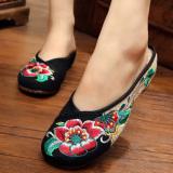 Harga Sepatu Bordir Baru Perempuan Sepatu Kain Beijing Oldish Bordir Peony Bunga Kembang Sepatu Hitam Branded