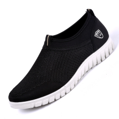 Harga Sepatu Santai Paruh Baya Anti Bau Diperbesar Sangat Berisi Pemukaan Jala Ringan Nyaman Ukuran Besar Hitam Tiongkok