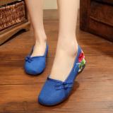 Harga Sepatu Kain Linen Wanita Hak Wedges Vamp Sepatu Rendah Bordiran Gaya Etnik Biru Merk Oem
