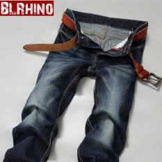 Review Beilexiniu Korea Fashion Style Lurus Tipis Jeans Keelastikan Slim Jeans 083 Terbaru