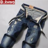 Harga Beilexiniu Korea Fashion Style Pria Elastis Celana Panjang Slim Lurus Celana Jeans Biru Paling Murah