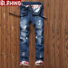 Promo Beilexiniu Korea Fashion Style Pria Remaja Flanging Denim Slim Lurus Celana Jeans E18 Biru Oem Terbaru