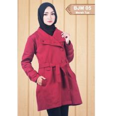 Harga Believe Bjm 05 Jaket Muslim Wanita Jaket Parka Ziper Hoodie Casual Kaos Merah Tua Believe Original