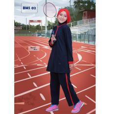Believe Setelan BMS-02 Baju Olahraga Muslim Kaos Wanita Baju Muslim Kaos Blue