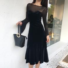 Promo Beludru Baru Lengan Panjang Jahitan Gaun Hitam Di Tiongkok