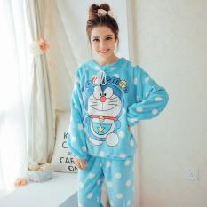 Beludru Karang Perempuan Baju Rumah Piyama Katun (8828 # Doraemon (Kecil))