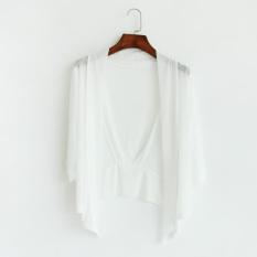 Benang Jaring Perempuan Pandangan Kardigan Selendang (Putih) Baju Wanita Jaket Wanita