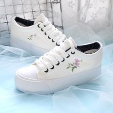 Cina Gaya Sastra Perempuan Sol Tebal Sepatu Angsa Emas Sepatu Kanvas Kets Putih (Kain Sutera Murad)