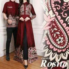 BenOlshop Couple Gamis/Baju Pasangan Gamis Maxi Dress Plus Kemeja Pria Rosita Warna Coklat
