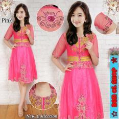 BenOlshop Kebaya Midi Dress Barbie - Pink ( Free Inner)