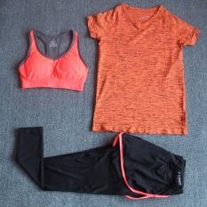 Jual Beli Berjalan Aerobik Kebugaran Pakaian Pakaian Yoga Puncak Olahraga Lengan Pendek T Shirt G Set