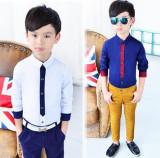 Promo Toko Bermutu Tinggi Baru Anak Laki Laki Kemeja Lengan Panjang Biru Tua