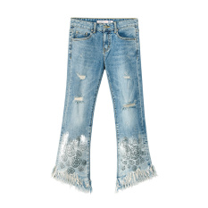 Longgar Korea Fashion Style musim gugur baru kemeja kasual tipis jeket Jeans (Cahaya biru)
