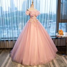 Toko Ball Gown Berwarna Warni Mempelai Wanita Menikah Gaun Malam Perjamuan Pink Dan Ungu Online
