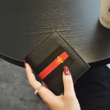 Terkenal Kulit Eropa Dan Amerika Perempuan Dua Kali Lipat Dompet Uang Kecil Dompet Kecil Hitam Diskon Tiongkok