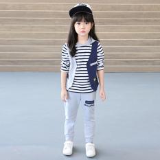 Beli Besar Korea Fashion Style Gadis Baru Anak Anak Musim Semi Bergaris Rompi Jas Musim Semi Dan Musim Gugur Model Abu Abu
