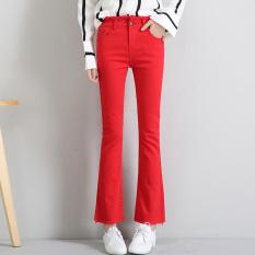 Jual Celana Potongan Boot Merah Tua Pinggang Tinggi Kasual Celana Musim Semi Dan Musim Panas Bagian Tipis Merah Satu Set