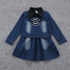 Spesifikasi Besar Rok Jeans Musim Semi Baru Atasan Koboi Gadis Kemeja Hitam Biru Tua Jas Merk Other