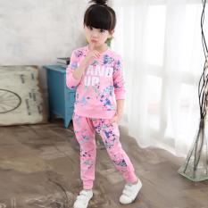 Harga Besar Korea Fashion Style Katun Model Musim Semi Dan Musim Gugur Anak Anak Gadis Set Merah Muda Yg Bagus