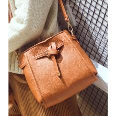Beli Best 4In1 Tassel Bucket Bag Leather Korean Fashion Women Handbags Shoulder Bags Brown Kredit