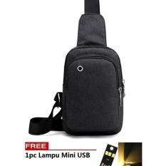 Harga Best Bag Tas Selempang Waterproof 314 Kanvas Men Sling Back Cowo Cewe Messanger Shoulder Bag Free Lampu Mini Usb Termurah